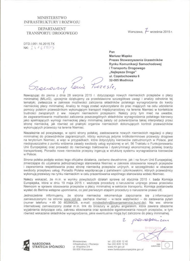 005-745x1024 Odpowiedź Ministerstwa Transportu w kwestii 8,5 euro